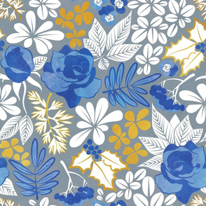 Winter garden // normal scale // grey blue and gold