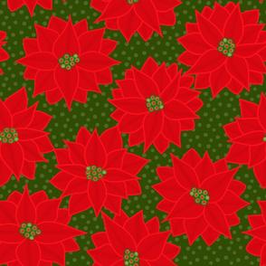 Christmas Poinsettia on Green