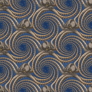 ★ KRAKEN ' ROLL ★ Navy Blue - Tiny Scale / Collection : Kraken ' Roll – Steampunk Octopus Print