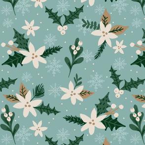 Snowy Poinsettias