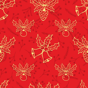 Winter Flora Red Christmas Pattern