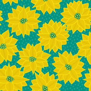 Tropical Flora - Poinsettia in Yellow & Teal