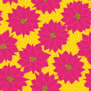 Tropical Flora - Poinsettia in Pink & Yellow