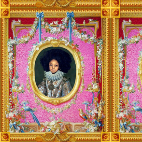 1 victorian baroque renaissance portraits tudor young black woman lady girl teenager african descent POC people of color WOC afro hairstyle hair  textured pink roses floral Queen Elizabeth 1 inspired princess garlands medallions swags blue bows gold frame