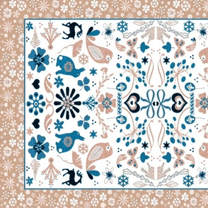 folk art tea towel grain blush teal