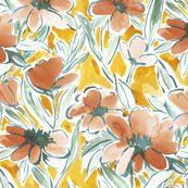 painterly floral orange medium scale