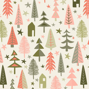 Fir Trees - Sage, Pink, Coral, Gray