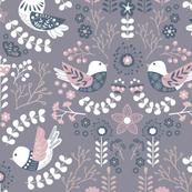 Scandinavian Floral Birds - Pastel Purple Blue
