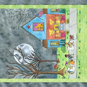 Trick or Treat Folk Art Tea Towel