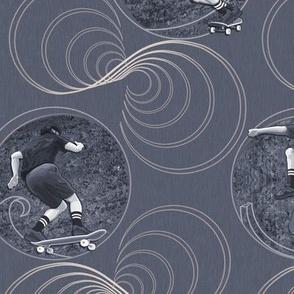 ★ SKATER, DON'T GO STRAIGHT! ★ Grayish Blue Denim, Large Scale / Collection : Skateboard Tricks – Urban Prints