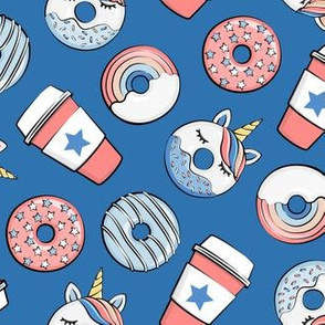 Coffee and Unicorn Donuts - Rainbow and unicorn donuts toss -  blue - LAD19