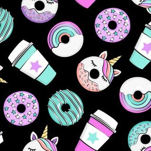 Coffee and Unicorn Donuts - Rainbow and unicorn donuts toss -  black - LAD19