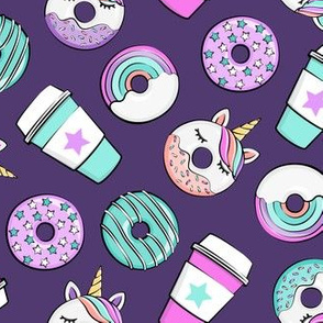 Coffee and Unicorn Donuts - Rainbow and unicorn donuts toss -  purple - LAD19