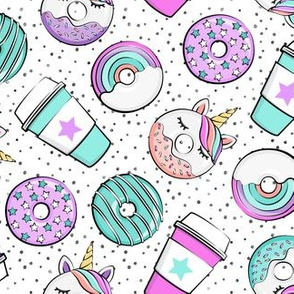 Coffee and Unicorn Donuts - Rainbow and unicorn donuts toss -  polka dots - LAD19