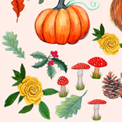 Winter Fox // Floral fox with pumpkins, holly, poinsettia