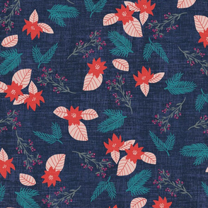 Winter Holiday  Floral Cloth