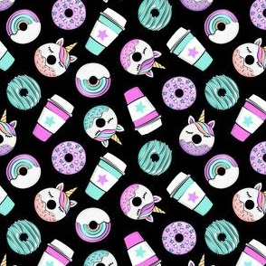 (small scale) Coffee and Unicorn Donuts - Rainbow and unicorn donuts toss -  black - LAD19