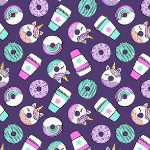 (small scale) Coffee and Unicorn Donuts - Rainbow and unicorn donuts toss -  purple - LAD19