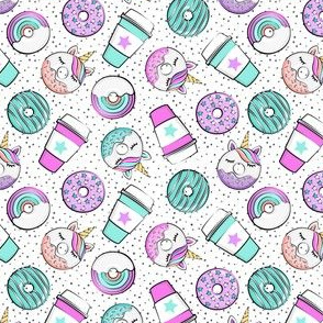 (small scale) Coffee and Unicorn Donuts - Rainbow and unicorn donuts toss -  polka dots - LAD19