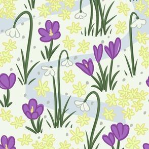 Snowdrop, Crocus, and Winter Jasmine