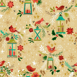 Winter Botanicals, Birdies, & Lanterns on Gold // Seasonal Holiday and Christmas Design // Poinsettas, Pine, Leaves, Flowers, Floral, Flora, Buds, Berries, Holly, Snowflakes, Acorns, Pine Cones, Evergreen Trees, Forest, Nature, Scandinavian Scandi