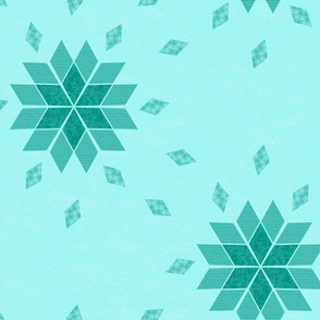 Repeating Cheater Quilt Ice Green Snowflake