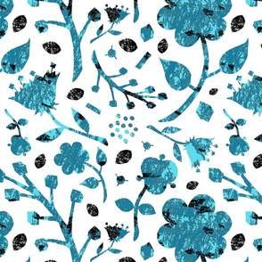 Floral abstract silhouette blue