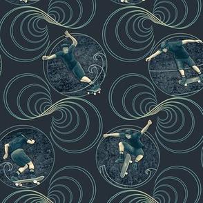 ★ SKATER, DON'T GO STRAIGHT! ★ Dark Navy, Small Scale / Collection : Skateboard Tricks – Urban Prints