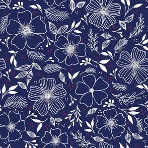 winter florals in blue