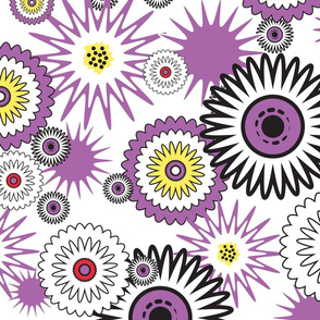 Lavender Retro Flowers