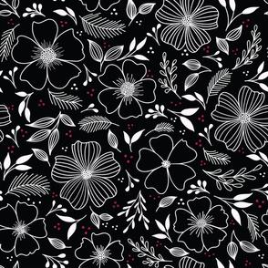 Winter Florals in Black