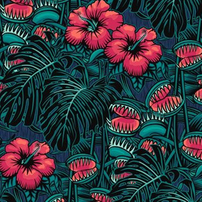 ★ TROPICAL NIGHT ★ Carnivorous Plant, Hibiscus & Monstera / Pink + Teal, Small Scale / Collection : It's a Jungle Out There – Savage Hawaiian Prints