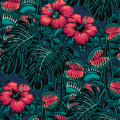 ★ TROPICAL NIGHT ★ Venus Fly Trap, Hibiscus and Monstera – Pink and Teal, Small Scale / Collection: It's a Jungle Out There – Savage Hawaiian Prints
