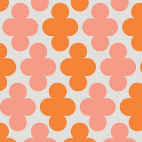 Coral Pink Orange Clover Geometric