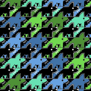 Dog-friendly houndstooth in blue and green