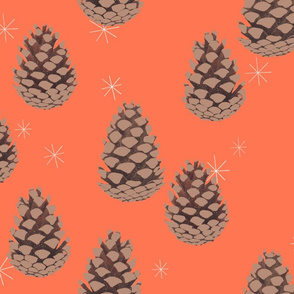 Winter Flora Coordinate - Pinecones on Soft Red
