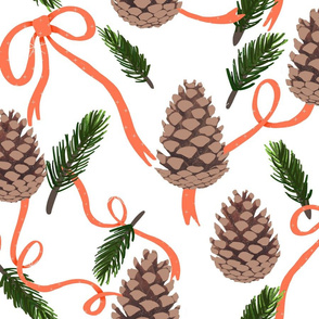Winter Flora - Pinecones and Ribbons