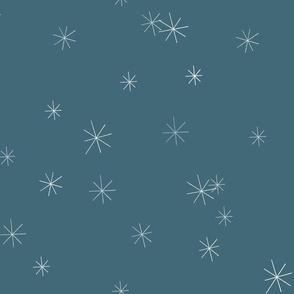 Winter Flora Coordinate - Simple Snowflakes on Blue