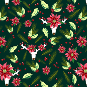 Holly Poinsettia Pine Reindeer