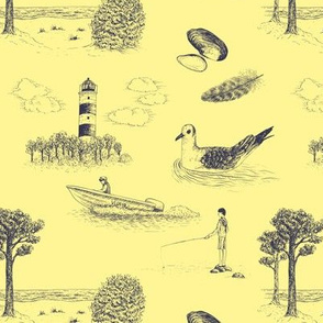 Seaside Town Toile (Yellow and Dark Grey)