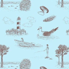 Seaside Town Toile (Light Blue and Brown)