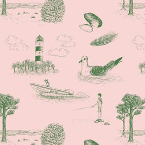 Seaside Town Toile (Pink and Green)