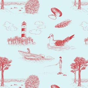 Seaside Town Toile (Light Blue and Red)