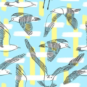 Seagulls (Light Blue Background)