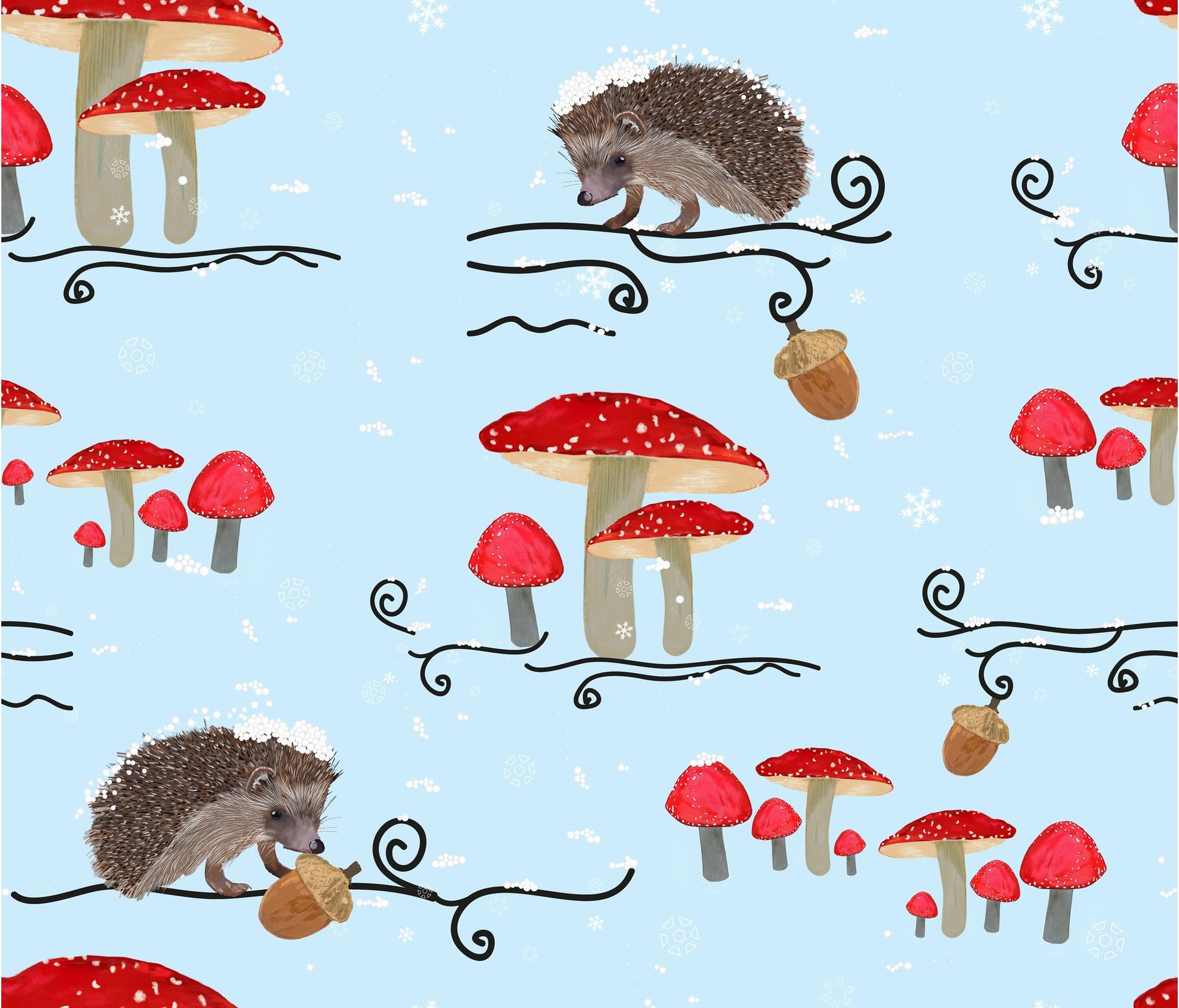 Rrrrrrrrrrrrrrrrrrrwinter-fauna-with-hedgehog-and-mushroom-pattern_contest282620preview