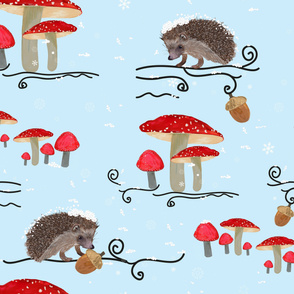 Winter-fauna-with-hedgehog-and-mushroom-pattern