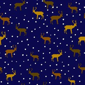 reindeer snow forest on a dark blue night sky