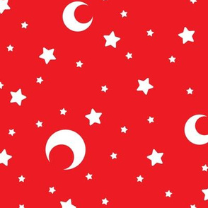 Red and White Moons and Stars