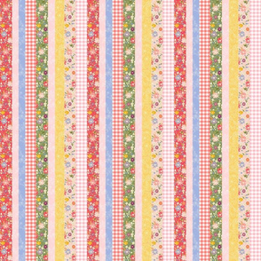 Hand-drawn Garden Patchwork Stripe Small Scale