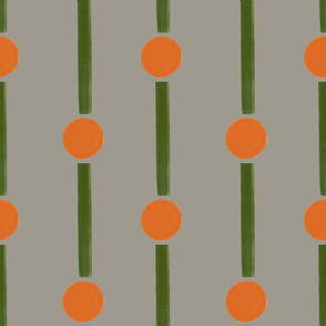 18 X 18 Orange and green dot dash